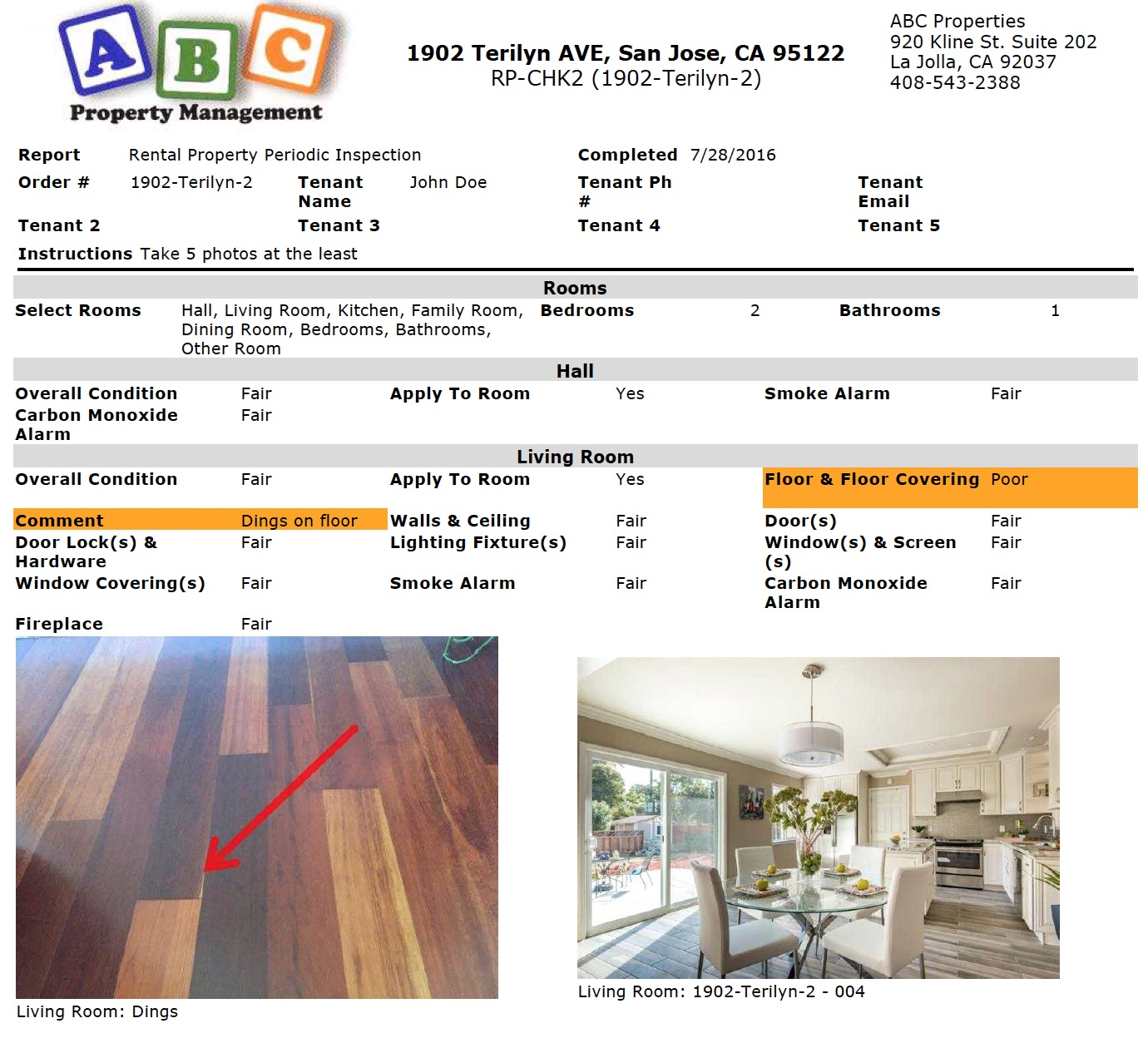 Standard home inspection report forms image collections for Rental property condition report template